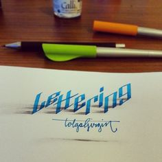 Calligraphy by Tolga Gigrin 3D lettering done with parallel pen and pencil.