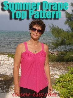 Free sewing pattern and tutorial, the Summer Drape Top. Designed for softly draping knit fabrics, this blouse is easy to make, flattering, cool and strappy. Skirt Patterns Sewing, Sewing Patterns Free, Free Sewing, Clothing Patterns, Sewing Tutorials, Free Pattern, Top Pattern, Sewing Projects, Skirt Sewing