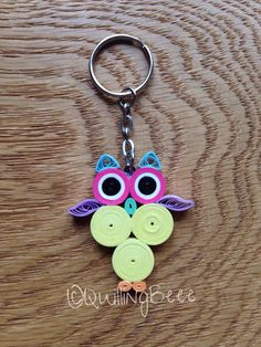 Quilled Owl Keyring, Owl Keyring, Keyring, Owl Keyring, Quilled Keyring, Owl Keychain, Owl Bag Charm, Owl Gift, by QuillingBeee on Etsy