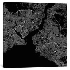 """Mercury Row Istanbul Urban Roadway Map Graphic Art on Wrapped Canvas Size: 18"""" H x 18"""" W x 1.5"""" D"""