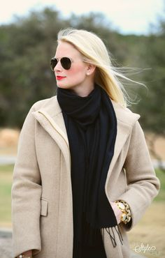 bundled up. black and camel