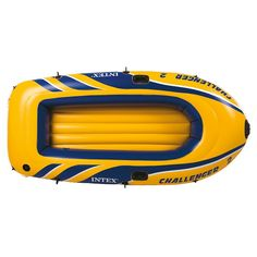 Intex Challenger 2, 2-Person Inflatable Boat Set with French Oars and High Output Air Pump (68367)
