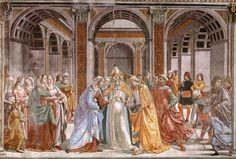 Domenico Ghirlandaio - parete di sinistra - Storie di Maria - 04, Sposalizio della Vergine - affresco - 1486-90 - Cappella Tornabuoni - Basilica di Santa Maria Novella, Firenze
