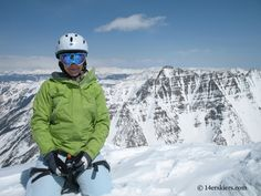 Brittany Walker Konsella on the summit of North Maroon before the ski down.