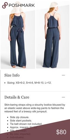 """Joie """"Kamilia"""" navy blue jumpsuit sz S. NWT! Joie """"Kamilia"""" navy blue jumpsuit. Size: S. NWT! **Additional photos of actual jumpsuit will be posted later today and this listing will be made available to purchase at that time.** (Stock photos via Nordstrom.com) Joie Pants Jumpsuits & Rompers"""