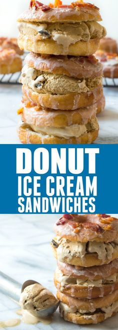 Donut Ice Cream Sandwiches. These easy to make yeast donuts are light and fluffy just like the bakery version and come together fairly quickly! Dress it up with some coffee glaze, bacon crumbles and fill with some coffee flavored ice cream for the ultimate treat. #ad @tomthumb