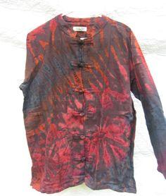 Brown Jacket Top Shirt Cotton Long Sleeve Tie Dye Hippie Boho Size L XL NWOT #BatikDesign  #tiedye