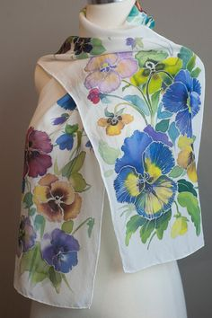 Hand painted White Silk Scarf Pretty Pansies by aniutik on Etsy, $95.00