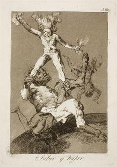 """Francisco de Goya: """"Subir y bajar"""". Serie """"Los caprichos"""" [56]. Etching and aquatint on paper, 214 x 151 mm, 1797-99. Museo Nacional del Prado, Madrid, Spain"""