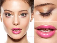 Pretty spring makeup: glossy pink lips, metallic eyes, natural lashes & brows. There's also a little pink eyeshadow right under the eyes