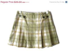 Moving Sale 90s Vintage Plaid Mini Skirt Green by ThingsRedeemed, $15.00