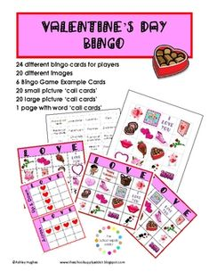 Free: A little fun for Valentine's Day!This 21 page pack includes:24 different Bingo Cards (20 various images)20 small picture 'call cards' 20 ...