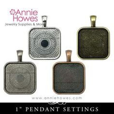 """1 inch Square Pendant Trays with Round Corners """"Puffy"""" 4 Color Options (25mm)"""