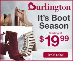 All new styles! It's boot season - starting at $19.99! Shop Men's and Women's styles at Burlington.  {affiliate link}