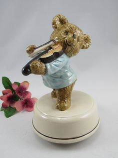 """Very Cute Vintage Otagiri 1970's Ceramic  Teddy Bear Playing a Violin Music Box.  The  Music Box plays clearly  """"FIDDLER on THE ROOF"""" by VintageQualityFinds on Etsy"""