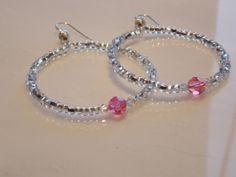 Czech Glass Crystal Hoop Earrings by SJPreciousJewelry on Etsy, $12.00