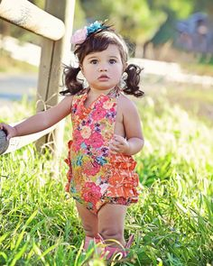 "Girls Toddler Baby Girl  Spring Summer Ruffle Romper Girls Ruffle Sunsuit from the ""Little Dames Collection"" by Peepz n Pretzelz"