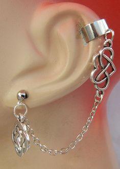 Ear Cuff Silver Chain Celtic Stud NEW Jewelry Knot Wrap Ears Handmade Fashion #Handmade #Cuff