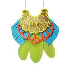Neon Geometric Necklace, Neon Yellow Statement Necklace, Green Feather Bib Necklace, Turquoise Fringe Leather Necklace, Geometric Jewelry