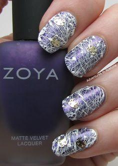Adventures In Acetone: Spun Sugar Spider Web  #nail #nails #nailart