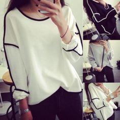 Новый девушку Сладкий Свободный геометрический дизайн Осень-Зима длинным рукавом свитера