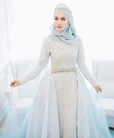 New Fashion Photography Dress Fairytale Ideas Muslim Wedding Gown, Muslimah Wedding Dress, Muslim Wedding Dresses, Blue Wedding Dresses, Wedding Gowns, Muslim Gown, Hijabi Wedding, Kebaya Muslim, Muslim Brides