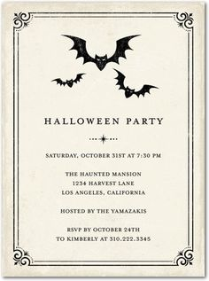 Simple and sophisticated, these vintage Halloween Party invitations are inspired by ghosts of Halloween past.