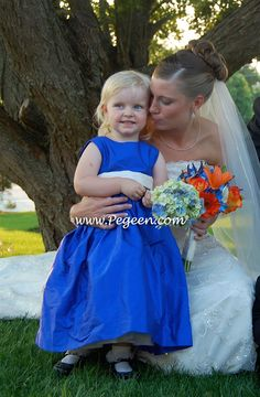 FLOWER GIRL DRESSES in Mailbu Blue with Antique White Silk