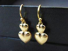 Heart Earrings Small Double Heart Charm Gold Dangle by DaKsJewelry