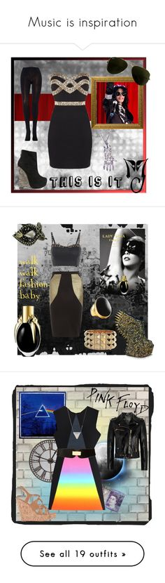 """""""Music is inspiration"""" by primadonna27 ❤ liked on Polyvore featuring Emilio Cavallini, Alejandro Ingelmo, J.Crew, Giuseppe Zanotti, Noir Jewelry, Kenneth Jay Lane, AX Paris, Masquerade, Dorothy Perkins and lady gaga fame perfume outfit gold black liquid spikes mask"""