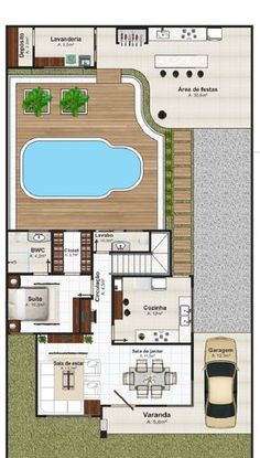In general, modern house is designed to be energy and environmental friendly. The design often uses sustainable and recycled Home Design Plans, Plan Design, Modern House Plans, House Floor Plans, Small Villa, Rest House, House Layouts, Architecture Plan, Home Projects