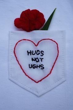 Ezra Koenig Vampire Weekend Hugs Not Ughs Embroidered Pocket Tee