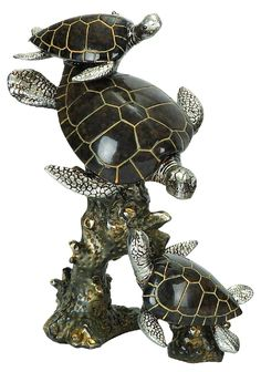 Features:  -Material: Polystone.  Product Type: -Figurine.  Style: -Coastal.  Theme: -Animal.  Subject: -Reptiles and amphibians.  Finish: -Silver, brown.  Age Group: -Adult. Dimensions:  Overall Heig