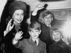 Queen Elizabeth II and young Prince Andrew, Prince Edward and Lady Sarah Armstrong-Jones wave form the window of the royal train as it leaves London's Liverpool Street station for January vacation at Sandringham, Dec. Prince Andrew, Prince Edward, Prince Harry And Meghan, Prince William, Duchess Of York, Duchess Of Cambridge, Lady Sarah Armstrong Jones, Prins Philip, Isabel Ii