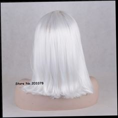42.50$  Buy now - http://aliu1c.worldwells.pw/go.php?t=32700898284 - Strong Beauty Short Total Silver/White Wigs Japan Kanekalon Synthetic Hair Quality Full Wigs For Black Woman 42.50$