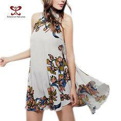 2017 Summer New Women's Casual Round Neck Sleeveless Printing Dress Women's Clothing Fashion Sexy Halter Lace Party Dress M-325