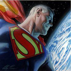 I like this illustration of an older Superman (note the Golden-Age S-emblem)…