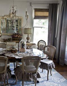 Blue Rug for the Dining Room www.cedarhillfarmhouse #Frenchdecor