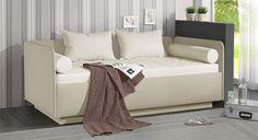 Gästebett mit tollem Kissenset. Erhältlich in verschiedenen Farbkombinationen. #schlafsofa #gästebett #couch #modern | betten.de http://www.betten.de/schlafsofa-mit-bettkasten-wahlweise-lattenrost-eriko.html