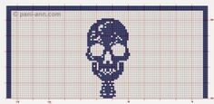 This is interesting . a life size filet skeleton! I was poking around the picasaweb albums website and I saw this by Cee Add in one of . Filet Crochet, Crochet Cross, Cross Stitch Designs, Cross Stitch Patterns, Crochet Patterns, Kawaii Cross Stitch, Crochet Skull, Crochet Leaves, Halloween Cross Stitches
