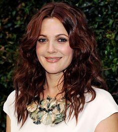 Love Drew Berrymore's super glossy auburn shade!