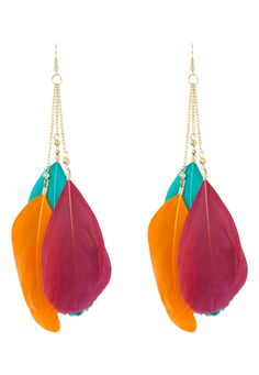 not into this pair, but like the feathers hanging further down, off of the chains.