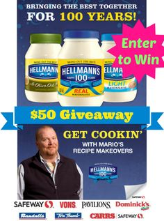 Hellmann's is giving you 20 delicious recipes to try, and I'm giving TWO READERS a $50 Safeway gift card ENTER NOW (mobile-friendly) ends July 30 http://freebies4mom.com/hellmanns/