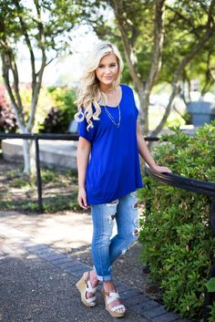 Beaux Boyfriend Tee - Royal Blue