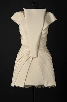 Line & Fold - origami-style folded dress; perfect symmetry; fashion details