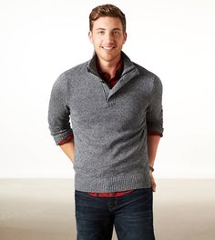 Mock Neck Sweater, Red Plaid Shirt, and Jeans Make for a Stylish Fall Look for Men. #ae #mensstyle #layers