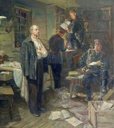 A search in the apartment of Lenin in Shushenskoe 1958 painting in the collection of Vrubel Museum, Omsk. #Lenin #Vaida #search