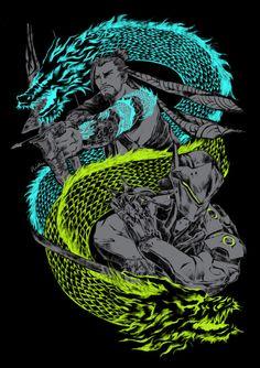 Overwatch Hanzo and Genji Overwatch Hanzo, Overwatch Comic, Overwatch Fan Art, Hanzo Dragon, Genji Dragon, Genji Wallpaper, Overwatch Pictures, Genji And Hanzo, Hanzo Shimada