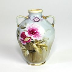 Morimura Nippon Urn / Vase Authentic Hand Painted by OneRustyNail, $39.95