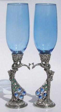 Jewelled Peacock Heart Wedding Toasting Glasses.